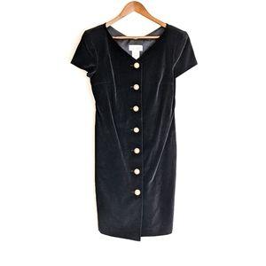 VINTAGE Leslie Lucks BLACK Velvet DRESS